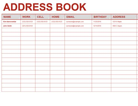 Personal Address Book Template Contact