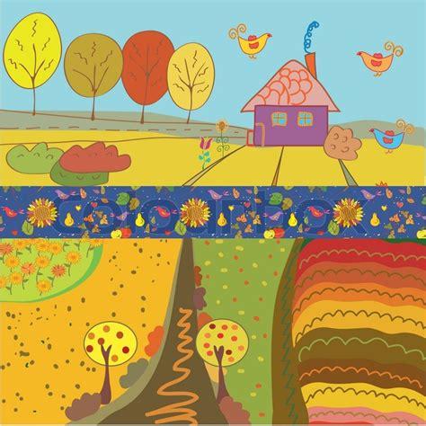 Log House Plans autumn banners cartoon stock vector colourbox