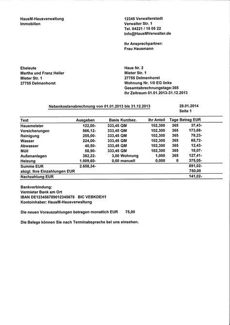 haus nebenkosten monatlich muster einer nebenkostenabrechnung f 252 r mieter kostenlos