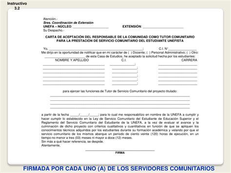 formato de carta de aceptacion de servicio comunitario guia de anteproyecto unefa