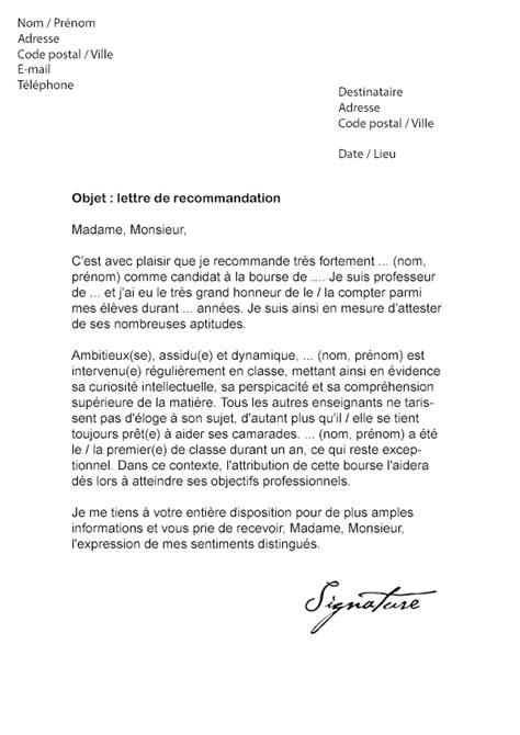 Demande De La Lettre De Recommandation Lettre De Recommandation Pour Une Bourse Mod 232 Le De Lettre