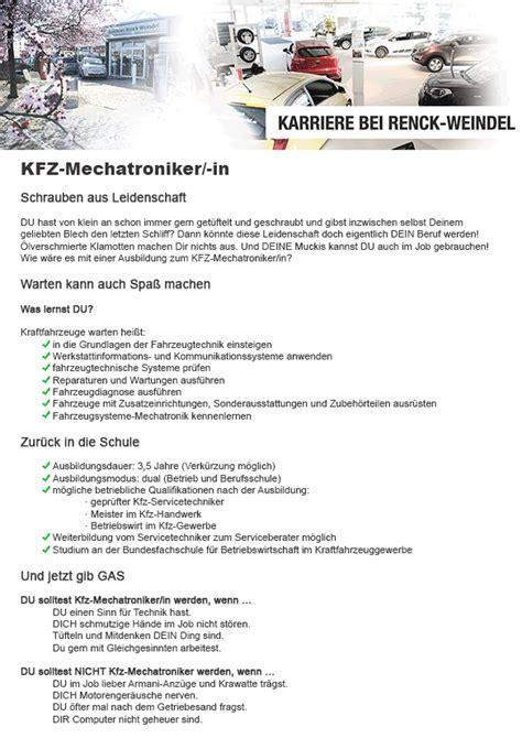 Bewerbung Anschreiben Ausbildung Fahrzeuglackierer Stellenangebote Autohaus Renck Weindel