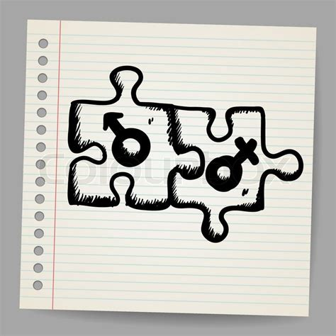 doodle puzzle doodle puzzles with gender symbols vector illustration