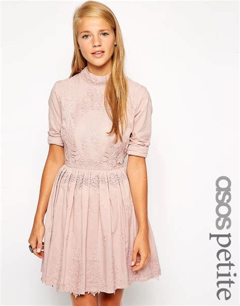 Dress Premium 22 asos exclusive premium skater dress with lace embroidery pink 163 22 50 londonfashionblog