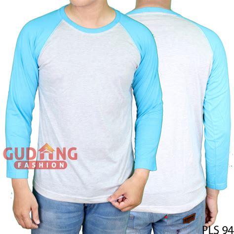 Kaos Raglan Panjang Fashion kaos raglan polos panjang cotton combed putih biru