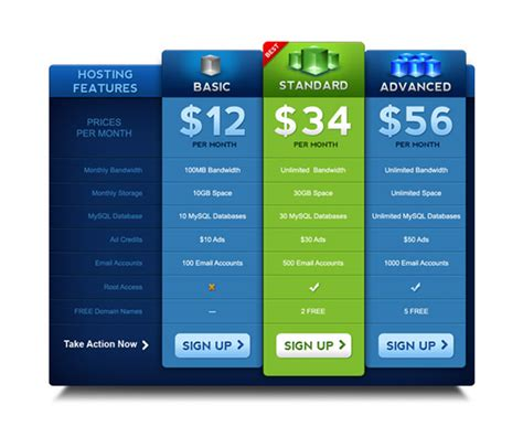 Free Price Table Template The Design Work | free price table template the design work