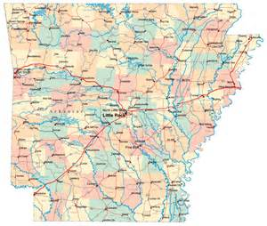 detailed administrative and road map of arkansas with