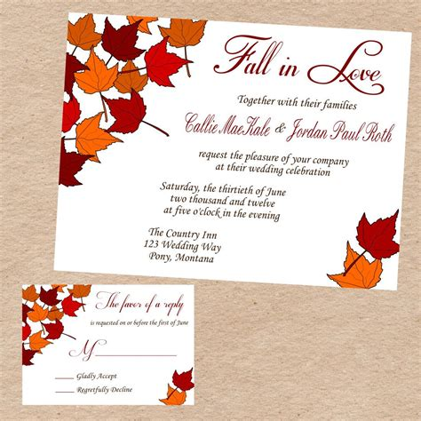 Fall Card Template by Fall Wedding Invitations And Inspiration Response Cards