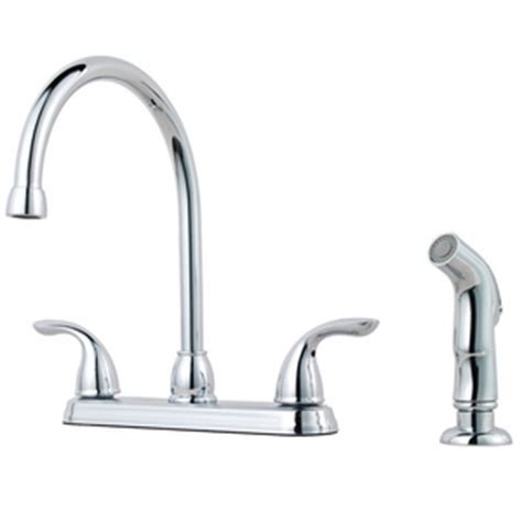 kitchen faucet gpm pfister 1 75 gpm 4 2 lever handle high arc kitchen faucet with spray in polished chrome