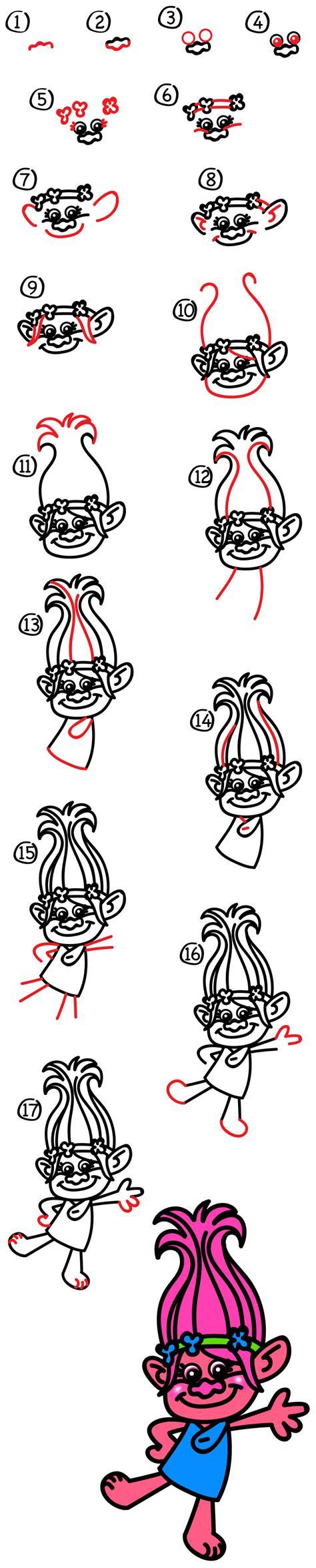 how to draw poppy from trolls