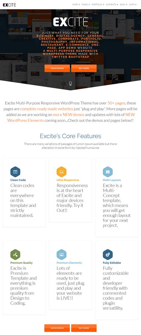 excite clean responsive multi purpose wordpress theme