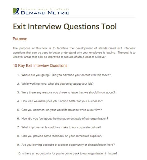 exit interview questions tool a template to facilitate