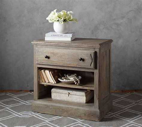 pottery barn bedside table linden wood paneled bedside table pottery barn