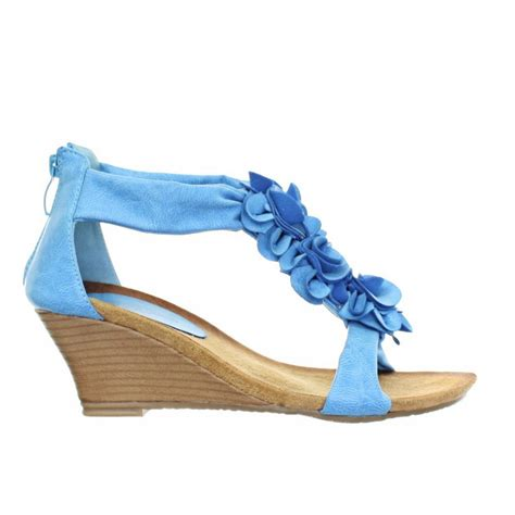 Sandal Wedges Blue Flower womens low wedge soft comfy footbed floral strappy sandals shoe size 3 8 ebay