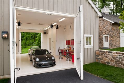 boat garage garage farmhouse  large carriage doors