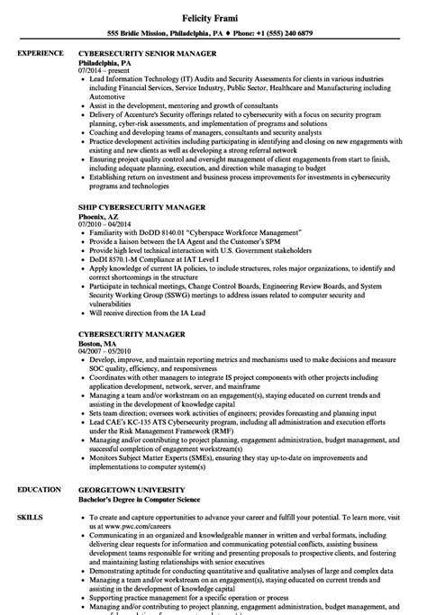 Cyber Security Resume by Cybersecurity Manager Resume Sles Velvet