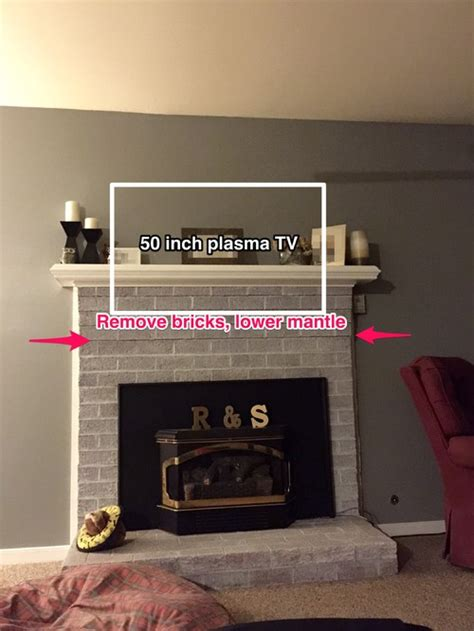 How To Mount Fireplace Mantel by Remove Some Brick Lower Mantle For Tv Mount