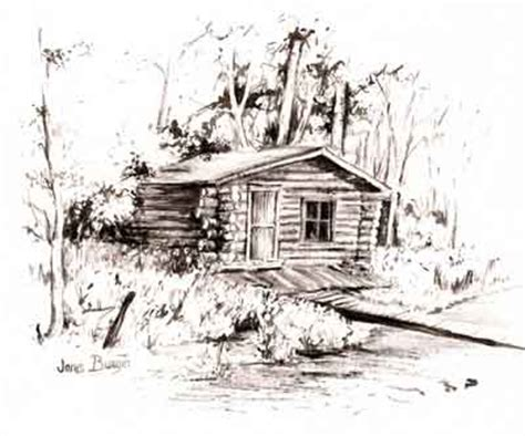 log cabin drawings janis burgin com gilcee prints note cards