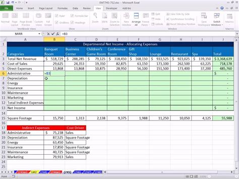 Overhead Calculation Spreadsheet by Excel Magic Trick 745 Allocating Indirect Expenses To