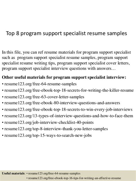 Program Suppport Specialist Sle Resume by Top 8 Program Support Specialist Resume Sles