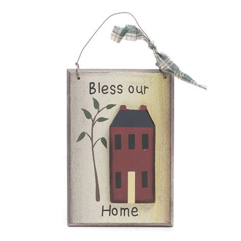 primitive wood quot bless our home quot sign signs ornaments