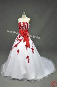 White and red wedding dress organza dress wedding n bridal gown