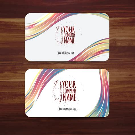 Business Card Template Vector Illustration With Colorful Curves Free Vector In Adobe Illustrator Business Card Template Illustrator Free