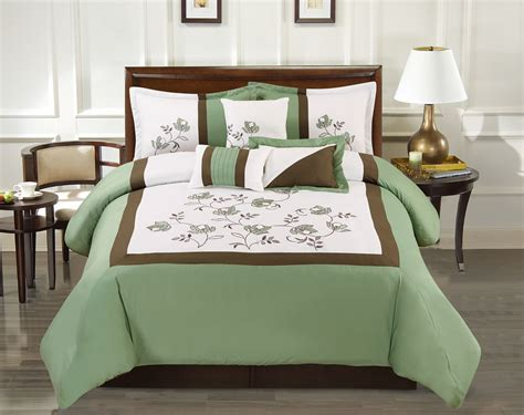 green floral comforter sets 7 piece floral block embroidered green ivory comforter set