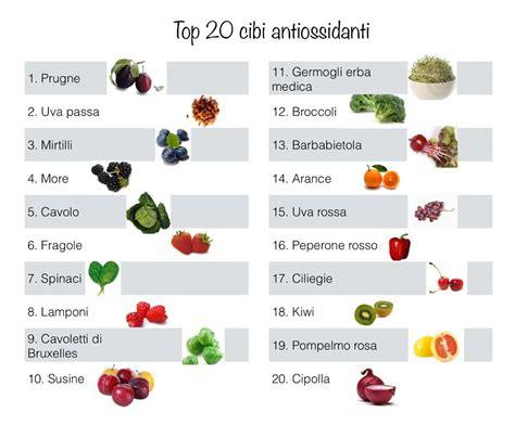 alimentazione antiossidante antiossidanti