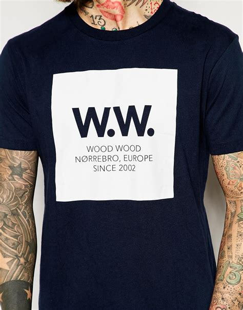lyst wood wood  shirt  box logo  navy  blue  men