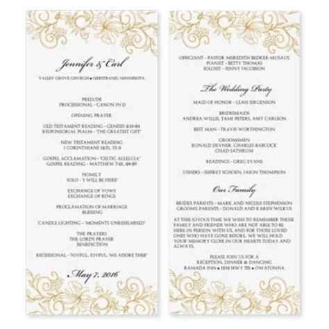wedding program template download instantly edit