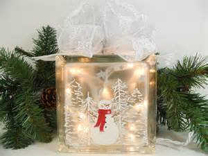 White Christmas Tree Decorated As A Snowman Lighted Glass Block Snowman Snow Scene 5 3 4 X 5 3 4 X 3 1