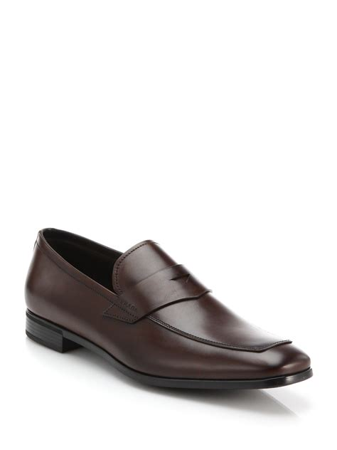 prada loafers prada leather loafers in brown for lyst