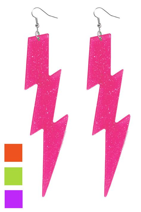 80s Accessories by S 80 S Lightning Bolt Earrings Neon Costume