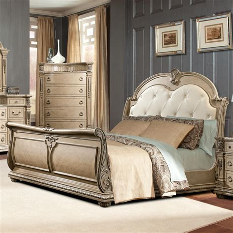 tufted headboard king bed davis direct monaco traditional king sleigh bed with