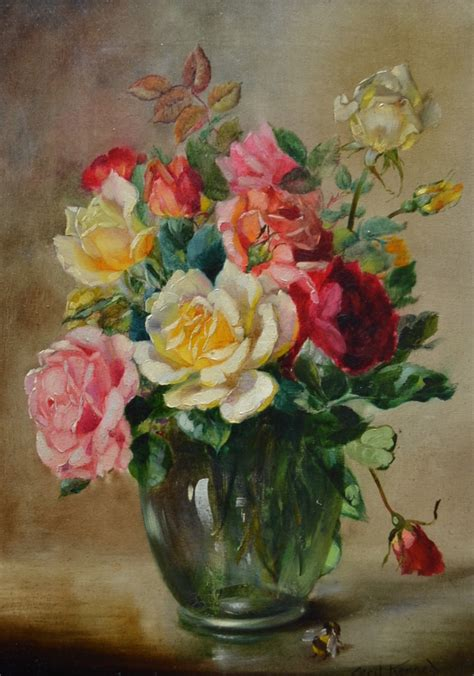 priory assorted roses in a glass vase with a