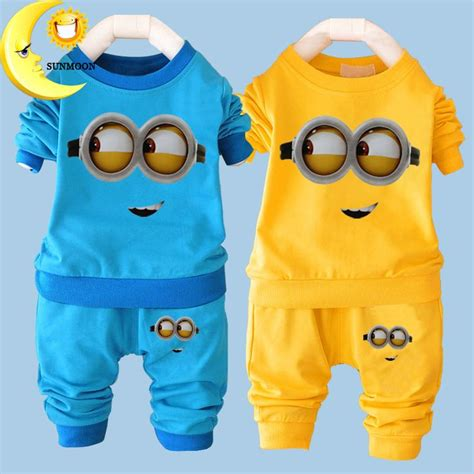 Setelan Vest Kid 2016 new baby boy clothes sets casual minions suits infant children clothing