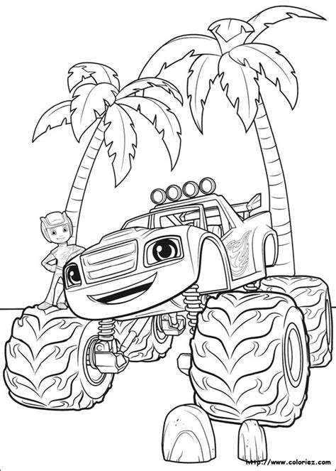 blaze coloring pages pdf coloriage blaze sous les palmiers