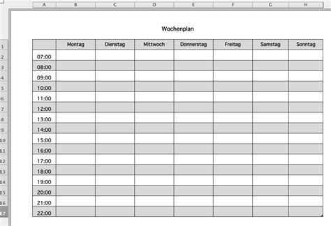 Kostenlose Vorlage Wochenplan Kostenlose Wochenplan Excel