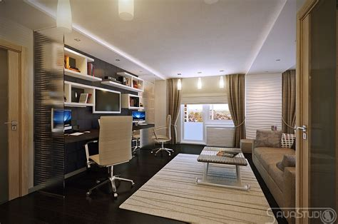 white brown home office design olpos design