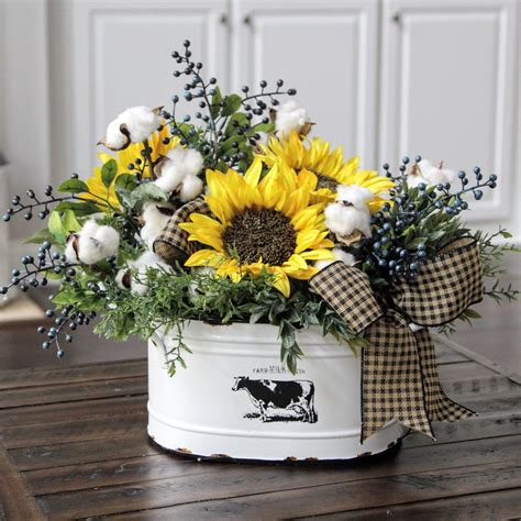 sunflowers decorations home farmhouse decor country primitive floral arrangement