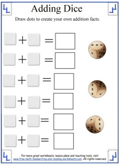 free printable dice addition worksheets math addition worksheets adding dice