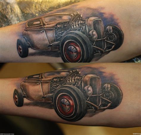 hot rod tattoo car tattoos grey ink rod car on arm cool