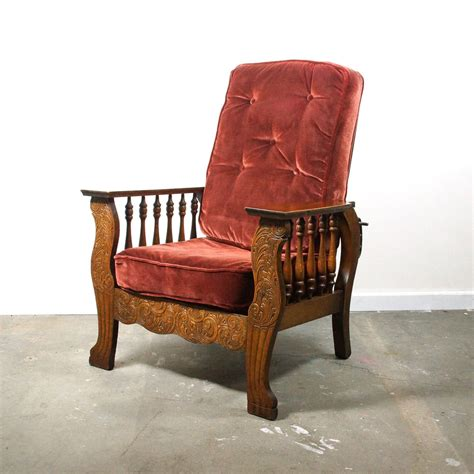 Antique Morris Recliner Chair antique morris chair carved arts crafts recliner by
