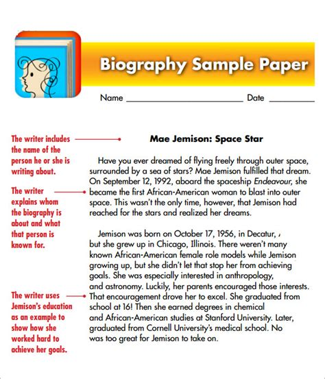 biography template for students sle biography 6 exle format