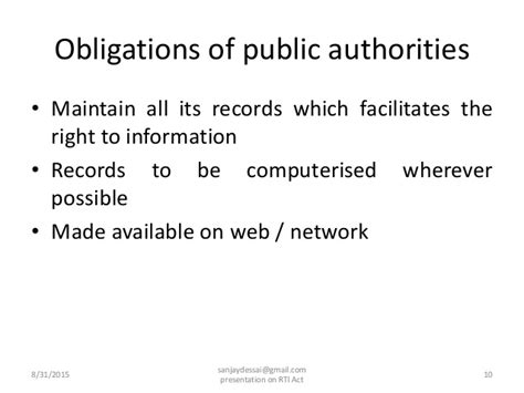 Essay On Right To Information Act And Its Fallout by Presentation On Right To Information Act 2005