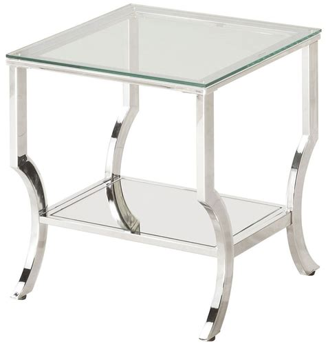 glass and chrome side table chrome and tempered glass end table from coaster coleman