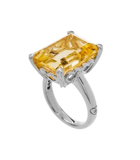 emerald cut 10ct citrine ring sterling silver amoro