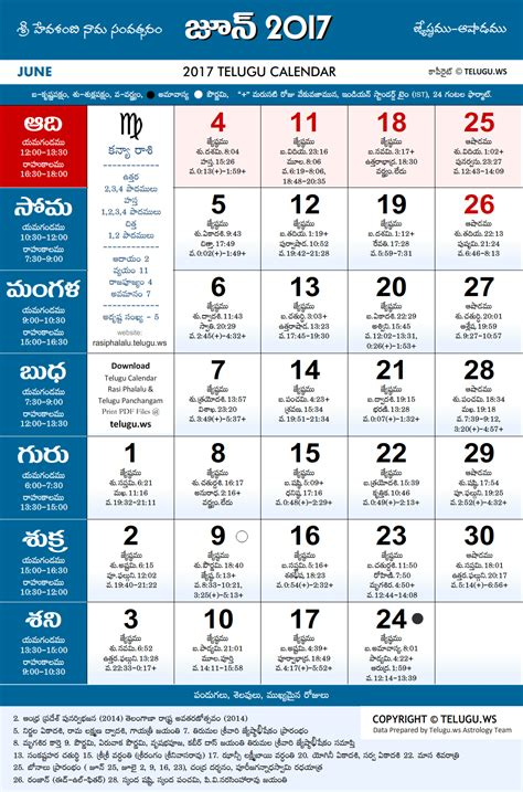 telugu calendar  june  print  festivals