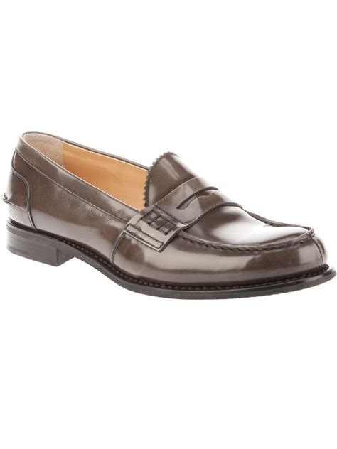 oak loafers church s sally leather loafers in brown oak lyst